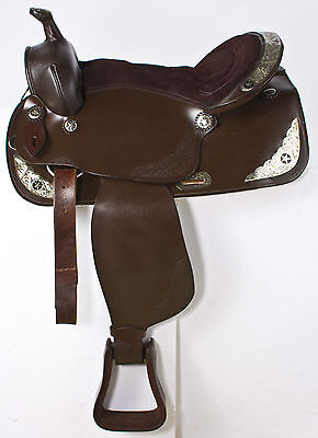 """Used 17"""" Brown Silver Leather Western Show Pleasure Trail Cowboy Horse Saddle"""