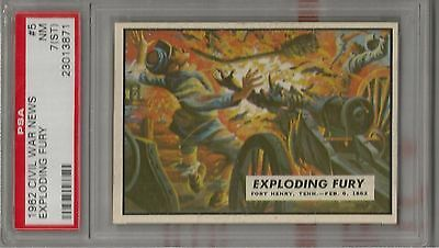 """1962 Topps Civil War News Card # 5 """"Exploding Fury"""" PSA 7(ST) Nr-Mt Condition"""