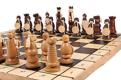 """AMAZING ''MAGNAT"""" WOODEN CHESS SET 55cm x 55cm. AMAZING HAND CRAFTED PIECES!"""
