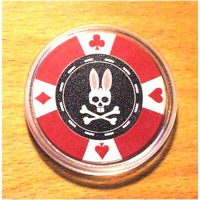 Psycho Bunny Poker Chip Card Guard Cover - Red