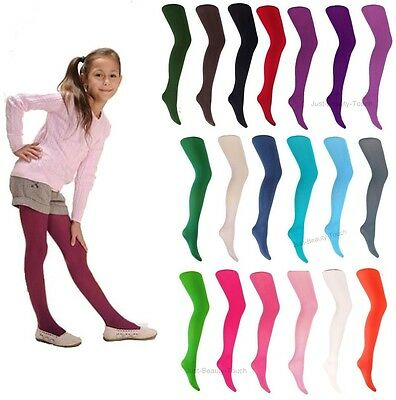 Girls Kids Tights Plain 40 Denier Microfibre Age 2-12 Various Colours SemiOpaque