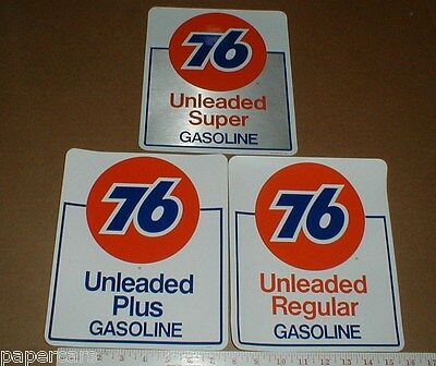 3x Unocal Union 76 gas station original vintage Gasoline pump decal sticker lot