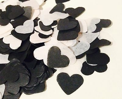 black & white heart wedding confetti - party table decorations - biodegradable