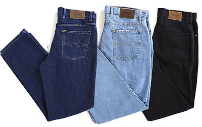 "New Mens Basic Heavy Duty Regular Straight Fit Denim Jeans Hard Wearing 30""-48"""