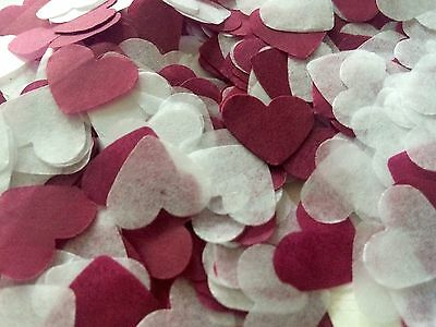 Burgundy & white heart wedding confetti-party table decorations - biodegradable