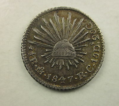 Mexico 1/2 Real, 1847, Circulated,Uncertified