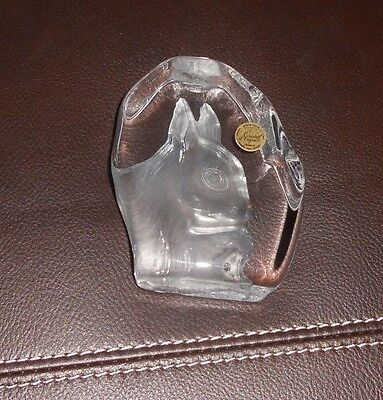 Cristal d'Arques Crystal 24% Bunny Rabbit Frosted French Art Glass Paper Weight