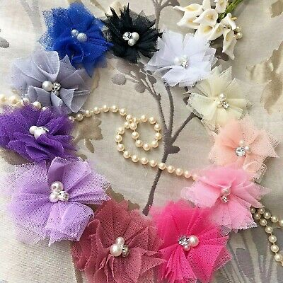 Baby Girl Flower Headband Delicate Elastic Rhinestone Pearl Christening Wedding