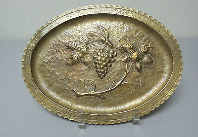 LOVELY ARTS & CRAFTS ERA HAND HAMMERED BRASS OVAL TRAY with GRAPE & VINE DESIGN