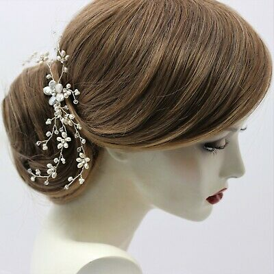 Freshwater Pearl Bridal Hair Accessory Vine on Comb Ivory & Clear Wedding UK
