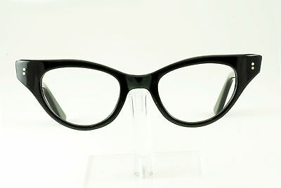 VINTAGE 1950's 60's SHINY BLACK CATEYE EYEGLASS FRAMES HAND MADE NOS DEADSTOCK