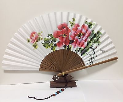 """Korean Art Hand FAN Paeonia Traditional Collapsible 53cm Big size 11.6""""x20.8"""""""