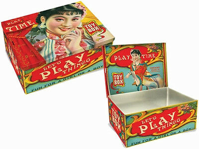 Retro PLAY TIME Toy Box Oldschool Dose / Blechdose Rockabilly
