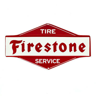 Firestone Tire Service Embossed Tin Sign Vintage Style Reproduction 11 x 6