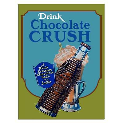 Drink Chocolate Crush Soda Metal Sign Vintage Style Diner Decor 12 x 16