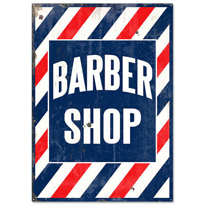 Barber Shop Distressed Stripes Large Sign Vintage Style Reproduction 20 x 28