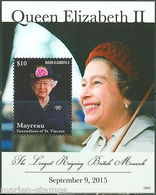 Mayreau  2015 Queen Elizabeth Ii Longest Reigning Monarch S/sheet Mint Nh