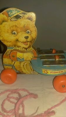 Vintage Fisher Price 1966 Teddy Bear Zilo Pull Toy #741