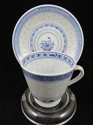 Vintage Chinese Rice Grain - Tea Cup and Saucer Set - Blue / White - Flower