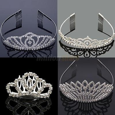 Wedding Bridal Crystal Diamante Silver Plated Tiara Crown Princess Prom Pageant