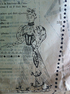 March 24, 1894 ORIGINAL FRENCH SEWING PATTERN SHEET MODE PRATIQUE