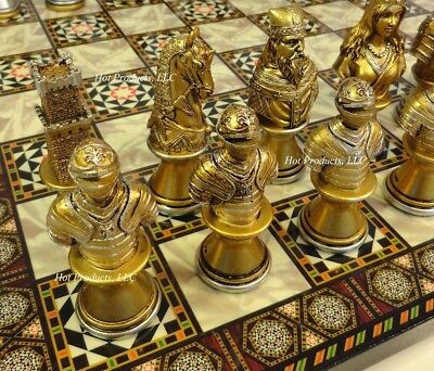 Medieval Times Knights Crusades Busts Chess Set W/ Mosaic Design Board 14""