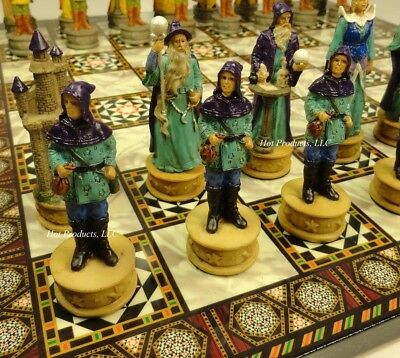 Fantasy Wizards & Sorcerers Chess Set W/ Mosaic Design Board 14""