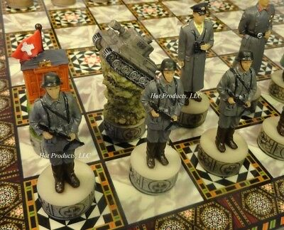 "WORLD WAR 2 US vs GERMANY CHESS SET w/ MOSAIC DESIGN BOARD 14"" WW2"