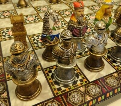 "MEDIEVAL TIMES CRUSADES BUSTS PAINTED CHESS SET w MOSAIC DESIGN BOARD 14"" KNIGHT"