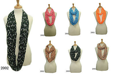 USWholesaler-12PC-AssortedColor- Crosses Printed large infinity scarves #2002