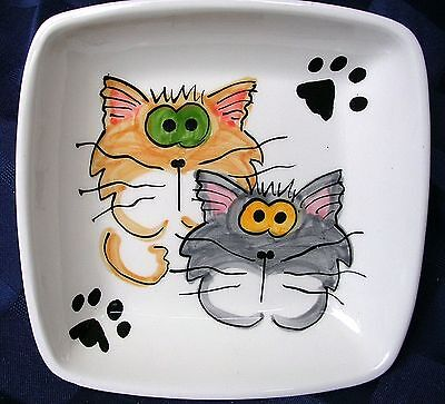 Goofy Cat Duo On Square Clay Pet Dish Handmade Original Design by Grace M. Smith