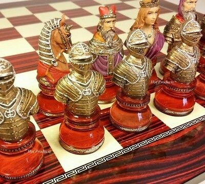 LARGE ACRYLIC MEDIEVAL TIMES CRUSADE BUSTS chess Set W/ CHERRY COLOR BOARD 17""