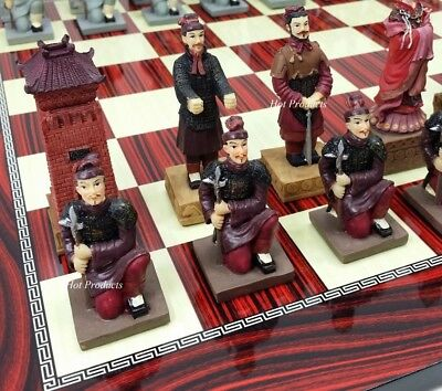 """ORIENTAL TERRACOTTA ARMY WARRIORS Chess Set W/ CHERRY COLOR BOARD 17"""""""