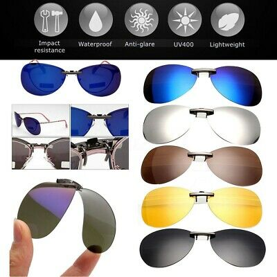 Clip On Flip-up Driving Glasses Sunglasses Polarized Day Night Vision Lens