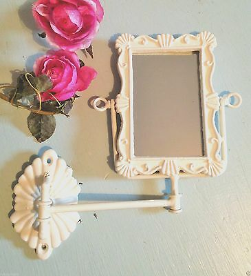 Shabby Chic Swing Arm Swivel Mirror Wall Mounted French Vintage Bathroom Ivory