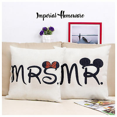 Mr & Mrs Retro Vintage Cushion Cover or Filled, New Pillow Home Decor Love Style