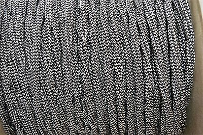 1 Meter Black & White Silk Covered 3 Core Light Flex Wire Braided Lamp Cord B10