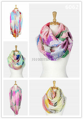 US Wholesaler 12PC -Assorted Colors- Metallic Paisley Soft Infinity Scarf #6062
