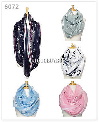 US Wholesaler 12PC Assorted Colors Anchors Soft Infinity Scarf #6072