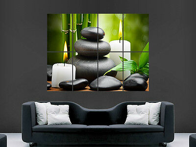 Spa Stones Candles Zen Relax Wall Poster Art Picture Print Large Huge