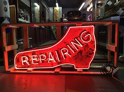 Vintage SHOE REPAIRING Single Sided Neon Sign Cobbler Beautiful Patina