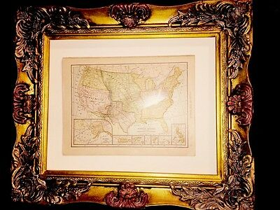 United States Map 1908 Antique W Acquisitions Territories  1783 1803 1848 B4 WWI