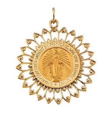 Miraculous Medal 14K Yellow Gold 33 x 30mm Round Filigree Framed Virgin Mary