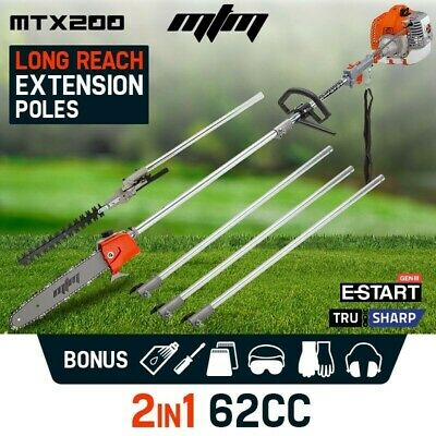 NEW MTM 62CC Pole Chainsaw Hedge Trimmer Pruner Chain Saw Tree Cutter Multi Tool