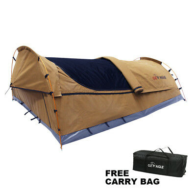 OzEagle Double Swag Canvas 4x4 Fishing Camping 3 Hoops 210cmX145cm Celadon