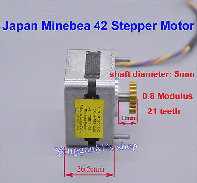 12V DC Minebea 42 Stepper Motor 2 Phase 4 Wire Stepping Motor 1.8° Copper Gear