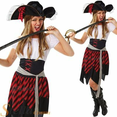 Ladies Buccaneer Pirate Wench Caribbean Sailor Fancy Dress Costume Womens Outfit
