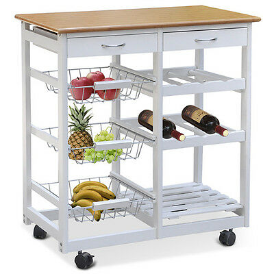Kitchen Trolley Cart Wood Effect Worktop White Frame with Lockable Castors Home