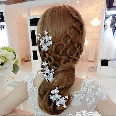 BD Bride Flower Hair Pin Wedding Party Jewelry Accessory Lovely Pearl