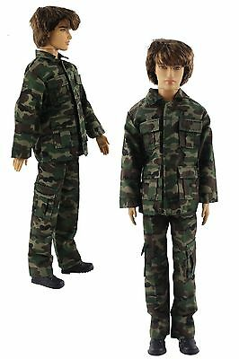 Military-style camouflage clothing/Outfit/Tops+Pants For Barbie's BF Ken B32